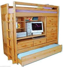 Bunk Bed With Desk Ebay Bunk Bed All In 1 Loft With Trundle Desk Chest Closet Paper Plans