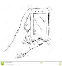 hand holding smartphone sketch vector stock vector image 47422896