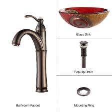 copper bathroom faucet bathroom glass vessel sink and faucet combination kraususa com