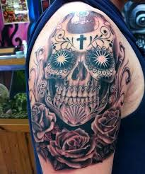 skull shoulder tattoos for with cross and roses