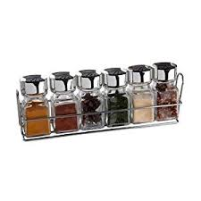 Old Fashioned Spice Rack Sabichi Spice Rack And Jars Glass Silver 6 Piece Amazon Co Uk