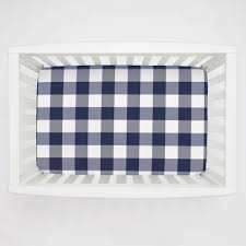 Mini Crib White Navy And White Buffalo Check Mini Crib Sheet Carousel Designs