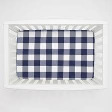 Mini Crib White Navy And White Buffalo Check Mini Crib Sheet Carousel Designs