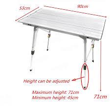 Light Weight Folding Table Adjustable Aluminium Light Weight Slatted Portable Folding Table