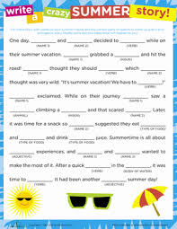 crazy story summer mad libs parts of speech and mad