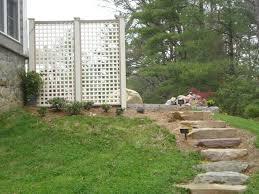 Backyard Patio Ideas Stone Privacy Lattice Wall And Stone Steppers Stone Patio Ideas