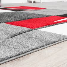 Wohnzimmer Schwarz Rot Teppich Wohnzimmer Modern Palermo Mit Konturenschnitt In Grau Rot