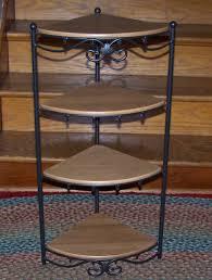 Longaberger Bakers Rack Longaberger Wrought Iron Corner Stand 4 Solid Maple Shelves Euc