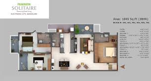 Solitaire Homes Floor Plans Apartment Bangalore Prakruthi Solitaire Phase I