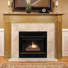 terrific ventless fireplace design feat polished wooden fireplace
