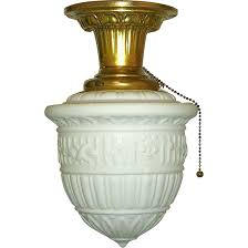 Pull Chain Ceiling Light Vintage Neoclassical Milk Glass Flush Mount Ceiling Fixture Milk
