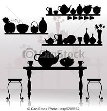 Dining Room Table Clipart Black And White Vector Illustration Of Dining Room Csp5209162 Search Clipart