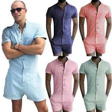 jumpsuit shorts mens sleeve jumpsuit casual cargo rompers one