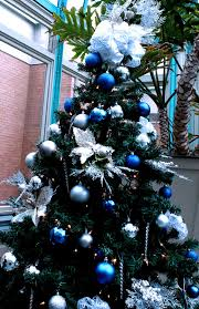 tree decorations blue and silver tree decoration