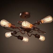 Vintage Ceiling Lights 6 E27 Bulb Base Nordic Vintage Metal Ceiling Light Fixture For