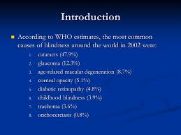 Childhood Blindness Causes Introduction To Clinical Medicine Ppt Download