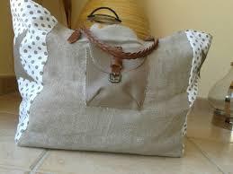 sac cabas lin cabas en lin marron et blanc avec étoile la ménagerie de sophie