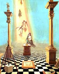 entered appice tracing board of freemasonry with solomonic pillars angels