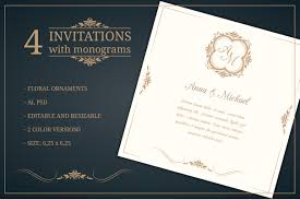 wedding invitations with monograms invitation templates