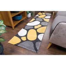 Yellow Runner Rug Pebbles Grey And Yellow Modern Runner Rug