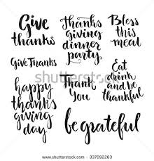 happy thanksgiving lettering collection handdrawn typography stock