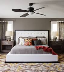 ceiling fans for bedrooms new york nailhead upholstered bed bedroom transitional with white