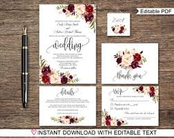 wedding invitation packages floral wedding invitation printable bohemian wedding