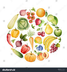 set watercolor vegetables fruitstemplate your design stock vector