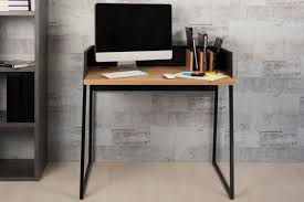 Compact Office Desks Volga Modern Compact Office Desk In Black Matte And Oak Veneer