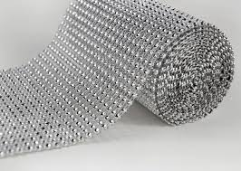 diamond mesh ribbon diamond mesh wrap 4 75 6 5ft roll simulated rhinestones