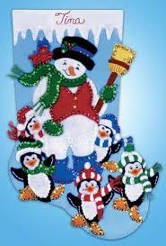 design works snowman with penguins felt