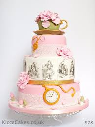 vintage alice in wonderland wedding cake personalised design