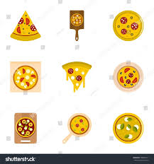 margarita emoticon mushroom pizza icons set flat style stock vector 706044211