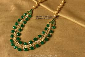 emerald pearl necklace images Matt finish imitation pearl necklace south india jewels jpg