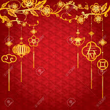 New Year Decoration Pics by Chinese New Year Background With Golden Element Decoration The