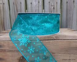 wire edged ribbon wired christmas ribbon 2 1 2 turquoise aqua blue sheer snowflakes