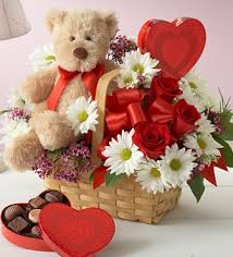 flowers and chocolate best flower in basket with teddy and heart shape