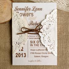 country style wedding invitations simple lace pocket brown ribbon wedding invites ewls006 as