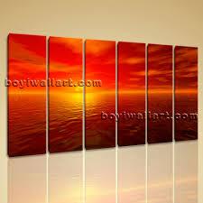 wall art canvas print hd ocean seascape sunset glow contemporary