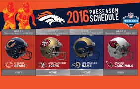 Thanksgiving Football 2014 Tv Schedule Times Dates For Broncos U0027 2016 Preseason Schedule Set