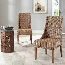 Safavieh Dining Chairs Safavieh St Thomas Indoor Wicker Brown Sloping Arm Chairs Set Of