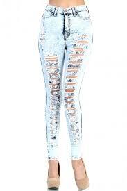 high waist acid mineral light wash big hole distressed denim jean