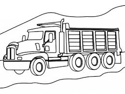 3 axle dump truck on mountain road coloring page kids play color