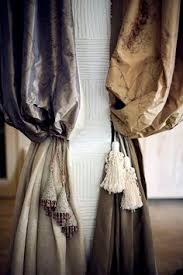 Tassels For Drapes Layered Classical Drapes Grey And Taupe With Multiple Tassels