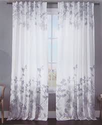 envogue gray floral border window curtains pair drapes leaves