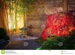japanese zen garden lightened by spot lights at night stock photo