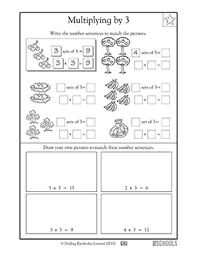 3rd grade math worksheets number sentences multiplying by 3