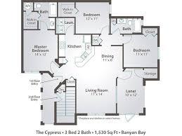 Bathroom And Walk In Closet Floor Plans 3 Bedroom Apartment Floor Plans U0026 Pricing U2013 Banyan Bay