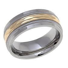 8mm diamond 14k yellow gold and stainless steel diamond cut 8mm wedding band