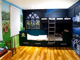 harry potter mural sacredart murals harry potter wall murals in boys bedroom with the blackout blinds down in halogen light